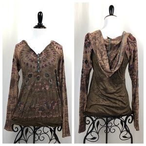 Free People Long Thermal Sleeve Top Small Hooded
